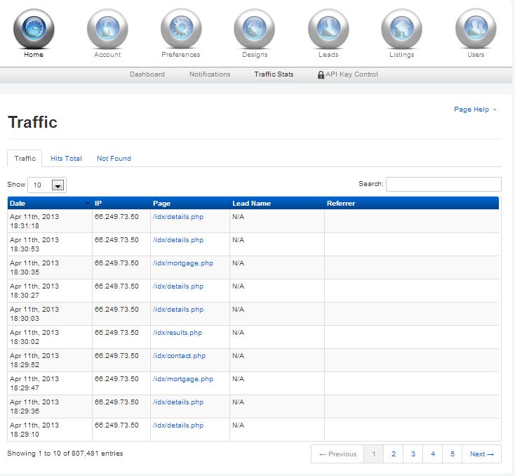 Use IDX Broker Platinum to analyze you site traffic